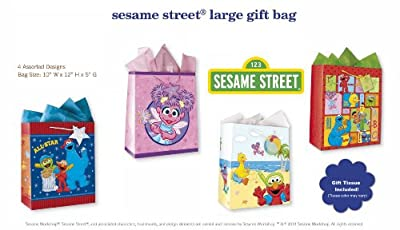Sesame Street All Occasion Birthday Party Gift Bags Set of 4 Large Birthday Gift Bags W/ Elmo, Cookie Monster, Big Bird, Abby Cadabby, Bert Ernie, Tags, and Tissue Paper for Kids, Boys, Girls