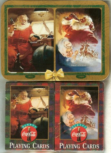 Playing Cards: Limited Edition 1997 Coca Cola Coke Santa ~ Two Decks ~ in a Collectible Tin - 1
