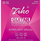 Acoustic Guitar Strings Pack Ziko Phosphor Bronze .011 Wound Custom Light