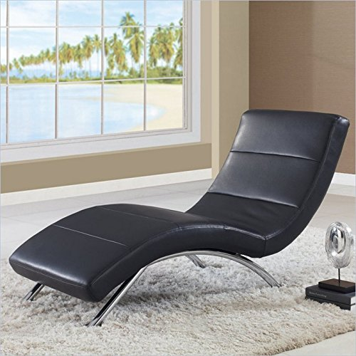 Global furniture usa ultra bonded leather metal chaise for Bonded leather chaise