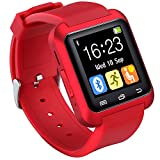 HopCentury Bluetooth Smart Watch Support Android Apk Notifier Android Cellphones with Sleep Monitor Pedometer Stopwatch Anti Lost Drink/Rest Reminder, Support iPhone with Partial Functions (Red)