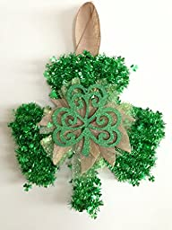 St Patrick\'s Day Glistening Garland with Wood Shamrock with Gold Tulle Wreath