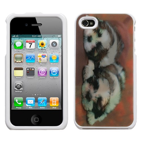 Hard Plastic Snap On Cover Fits Apple Iphone 4 4S Puppies (002/White) Illusion At&T, Verizon (Does Not Fit Apple Iphone Or Iphone 3G/3Gs Or Iphone 5/5S/5C) front-720502
