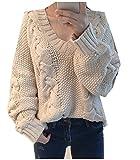 [ 春秋物 ] セーター Vネック 大きめ 萌え袖 ざっくりニット 体系カバー かわいい 限定エコバック付 (アイボリー)