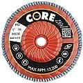 "CoreTemp 88536 Type 27 High Density Abrasive Flap Disc with Plastic Turbo Backing, Metal Threaded Hub, Zirconium, 5"" Diameter, 5/8""-11 Arbor, 36 Grit  (Pack of 5)"