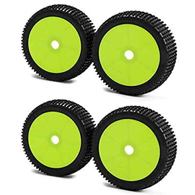 Generic 17mm Hub Wheel Rims and Tires for 1:8 Off-Road RC Car Buggy Green Pack of 4