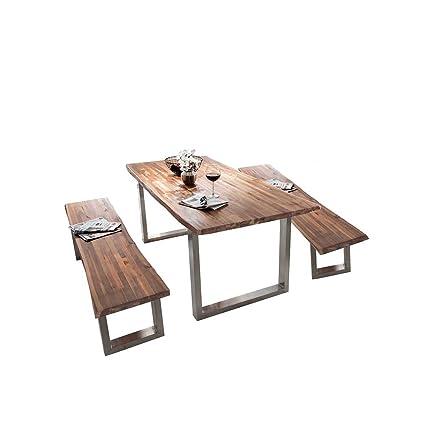 Sitzgruppe mit Baumkantentisch 2 Bänke (3-teilig) Pharao24