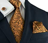 Landisun 96C Bronze COPPER Paisleys Mens Silk Tie Set: Tie+Hanky+Cufflinks