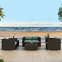 Big Sale Harmonia Living Urbana 4 Piece Outdoor Wicker Patio Sofa Set with Turquoise Sunbrella Cushions