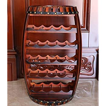 Vintiquewise QI003284L Large Wooden Barrel Shaped 23 Bottle Wine Rack