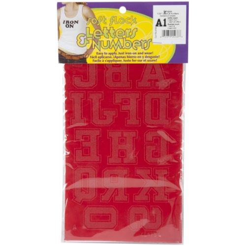 Dritz Iron-On Letters & Numbers, Soft Flock, Collegiate, 1-3/4