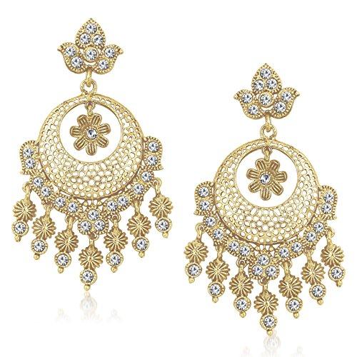MEENAZ White Golden Kundan Pearl Daimond Dangle & Drop Earring for Women