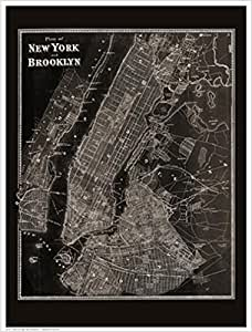 Blueprint Plan Of New York And Brooklyn 1867