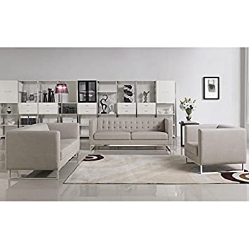 VIG- Dominic Divani Casa Modern Grey Fabric Sofa Set