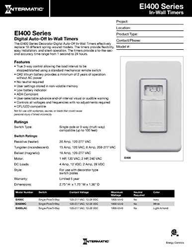 Intermatic Ei400lac Programmable Electronic Countdown In Manual Guide