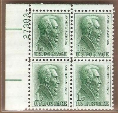 Postage Stamp US Andrew Jackson Sc 1209 MNH VF Block