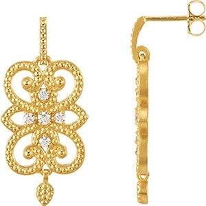 IceCarats Designer Jewelry 14K Yellow Gold Granulated Design Dangle Earrings.