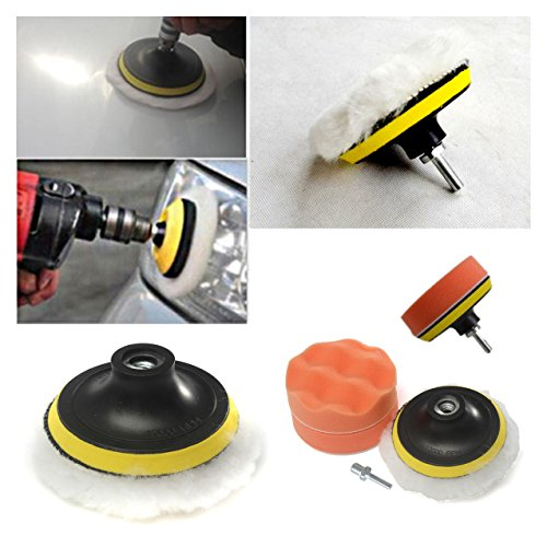 Fendior 4'' High Gross Wax Polishing Buffing Pad Kit Car Polishing Buffer Set with Drill Adapter for M10 Connector Drill (Car Buffers For Drill compare prices)