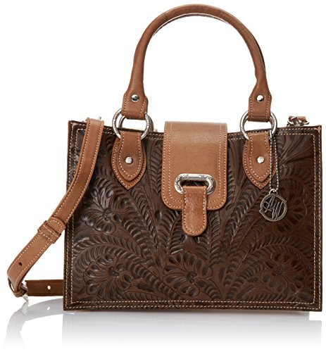 American West Graciebird 3 Compartment Leather Magnetic Shoulder Bag, Earth Brown/ Tan, One Size