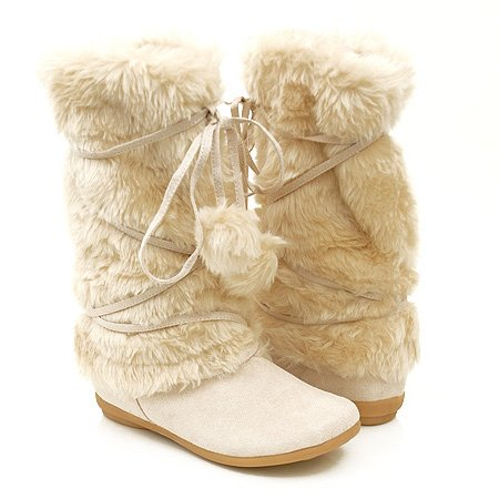 Mukluks Soft Furry Pom-pom Snow Winter Flat Boot (10)