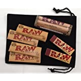 """RAW 1.25 Deal - """"Natural 1 1/4 Rolling Papers, 79mm Rolling Machine & Filter Tips"""" **INCLUDES** Black Velvet Pouch"""