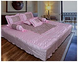 Ooltah Chashma Gold Printed Satin Double Bed Bedding Wedding Set (Set of 7) - Pink, OCWC-001