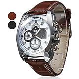 Soleasy New Men's Silver Case Leather Band Quartz Analog Wrist Watch WTH1009