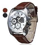 Soleasy New Mens Silver Case Leather Band Quartz Analog Wrist Watch WTH1009