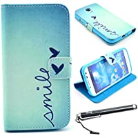 S4 Case, Galaxy S4 Case, Speedtek Smile Pattern Premium PU Leather Wallet Flip Protective Skin Case with Magnetic...