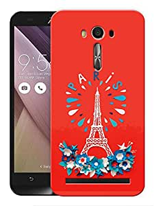 """Humor Gang Eiffel Tower - Paris - Red Printed Designer Mobile Back Cover For """"Asus Zenfone 2"""" (3D, Matte, Premium Quality Snap On Case)"""