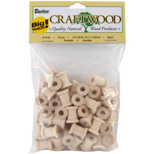 Darice 9119-52 Big Value Unfinished Wood Spool, Natural, 5/8-Inch