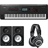 Yamaha Montage8 Synthesizer Workstation with HS5 Powered Studio Monitor, Pair and M50x Professional Monitor Headphones, Black (Tamaño: 88-Key)