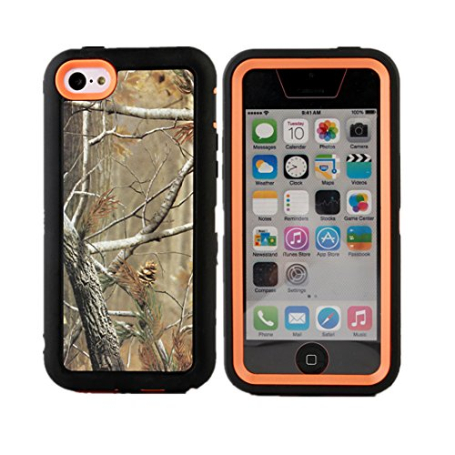 iCustomized TM Black and Orange Rugged Heavy Duty Hard Dual Layer Weather and Water Resistant Case with Camouflage Woods Design for the NEW Apple iPhone 5C ATT - Verizon - Sprint - Black Audio Jack Dust Plug