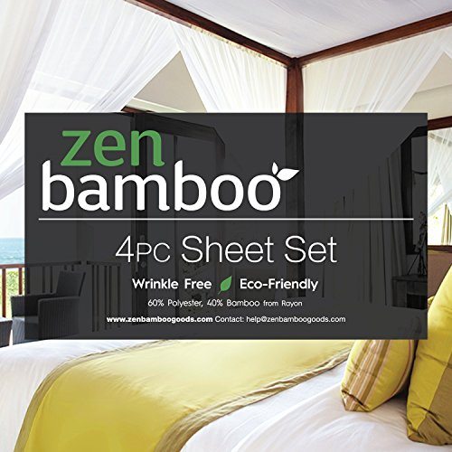 Zen-Bamboo-Luxury-Bed-Sheets-HIGHEST-QUALITY-Ultra-Soft-4-Piece-Eco-Friendly-Bamboo-Bed-Sheets-Hypoallergenic-and-Wrinkle-Free