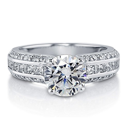 Berricle Sterling Silver 925 Round Cubic Zirconia Cz Engagement Wedding Ring Band Size 5