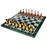 "15"" X 15"" Collectible Green Marble Chess Board Game Set + Brass Wooden Pieces"