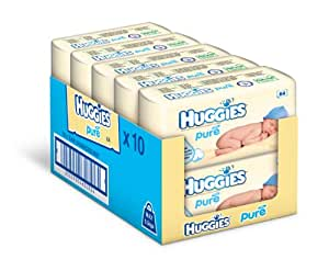 Huggies Pure Baby Wipes - 10 x Packs of 64 (640 Wipes)