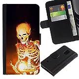 iKiki Tech Etui Coque Housse de Protection en Cuir Skeleton Black Magic Bones Flames Fire Art Samsung Galaxy S5 V SM G900