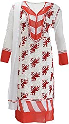 AKS Lucknow Women's Regular Fit Kurti (TK-37_44, WHITE , 44)