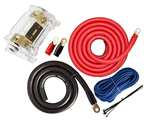 0 Gauge Amp Kit Amplifier Install Wiring 1/0 Ga Power Installation Cables 4000W- Extra Long 25 Ft. Red Power Cable