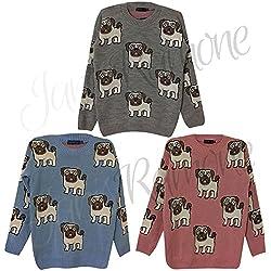 Janisramone Multi Pug Dog Print Knitted Womens Jumper Long Sleeve Crew Neck Ladies Sweater Top by UK