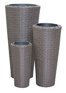 Set 3 vasi cachepot portavasi portapiante portafiori tondi alti modello bangkok misure cm42x90 - Portavasi da interno alti ...