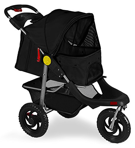OxGord Pet Stroller Cat Dog 3-Wheel Walk Jogger Travel Folding Carrier Deluxe