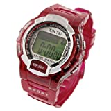 Children Magenta Plastic Band Round Case Sports Watch