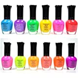 KLEANCOLOR NEON COLORS 12 FULL COLLETION SET NAIL POLISH LACQUER + FREE EARRING
