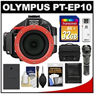 Olympus PT-EP10 Waterproof / Underwater Housing Case for PEN E-PL5 Micro 4/3 Digital Camera with 32GB Card + Case + Battery + LED Torch Flashlight + Accessory Kit