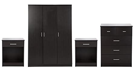 Panama 4 Piece Bedroom Furniture Sets - 3 door Wardrobe, 3+2 Chest, 2 x Bedside - Espresso