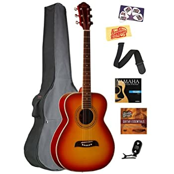 Oscar Schmidt OF2 Folk-Size Acoustic Guitar Bundle with Gig Bag, Tuner, Strap, Strings, Picks, and Polishing Cloth... reviews