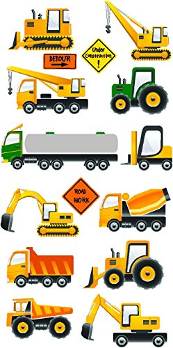 Construction Trucks (15 Pcs) Stickers - Removable And Repositionable Wall Decals Wall Art For Any Kids Room. front-628203