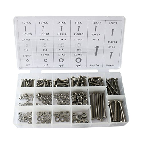 224pcs Stainless Steel Cross Recessed Pan Head Machine Bolts Nuts with Flat Gaskets Kit